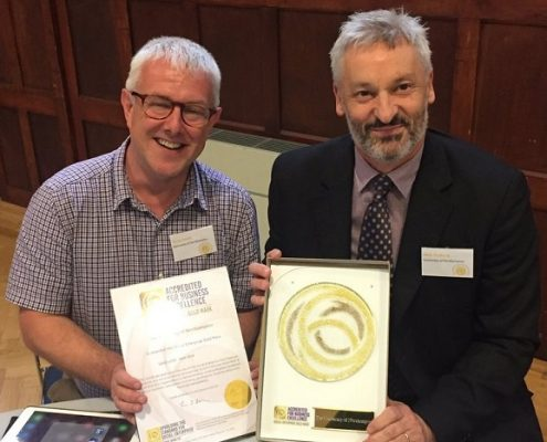 Wray Irwin and Nick Petford of the University of Northampton with their Social Enterprise Gold Mark