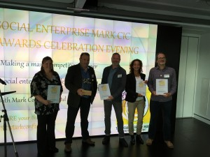 L-R: Laura Burns (LWTC), Mark Sharman (Help&Care), Mark Cotton FRSA, Mona Karraoui (GEO), Gareth Hart (Iridescent Ideas)