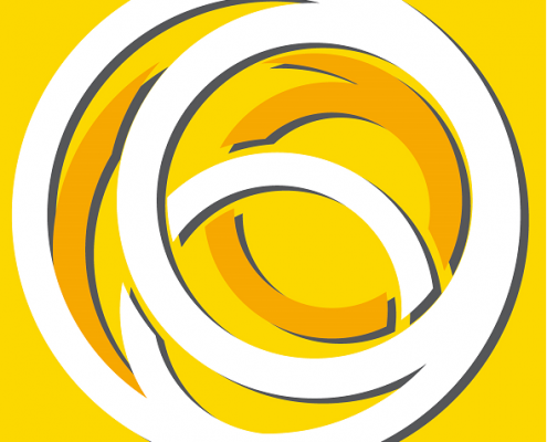 White and orange circles on a yellow background