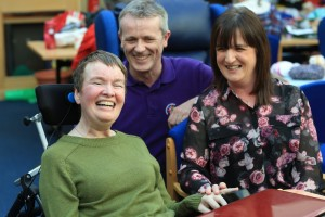 John Taylor Hospice's day hospice patient Fran Tierney with Heart of the Hospice manager Paddy Breen and Fran's sister Liz Cox