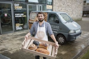 Column Bakehouse new suppliers of University cafes' bread Jon Denley from Column Bakehouse making a delivery