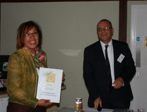 Maxine Willetts of Epic CIC accepting runner up certificate Making a Mark competition