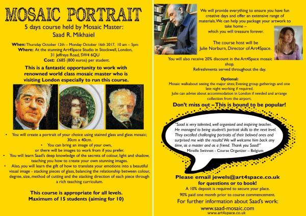 Art4Space mosaic portrait couse
