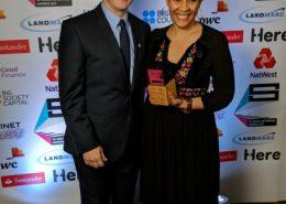 Rachel Wang celebrating with Actor, Michael Sheen at the Social Enterprise Awards 2017