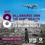 Oxfma report: just 8 billionaires own the same wealth as the poorest 3.6 billion people