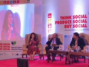 Lucy Findlay speaking at International Social Enterprise Conference in Sri Lanka