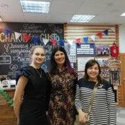 Lucy Findlay with Irina Makeeva and young social entrepreneur Anna in Novosibirsk