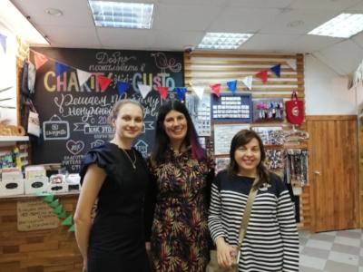 Lucy Findlay with Irina Makeeva and young social entrepreneur Anna in Novosibirsk