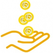 Hand with coins