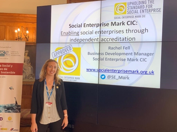 Rachel Fell presenting at UIMP social enterprise conference in Santander July 2019