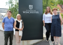 (left to right): Angus Mackay (UNITAR); Professor Joy Carter CBE, DL (Vice-Chancellor, University of Winchester), Melanie Harwood (Harwood Education), and Dr Janice de Souza (Dean, Faculty of Education, University of Winchester).
