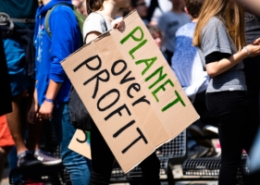 Person holding sign saying 'Planet over Profit'