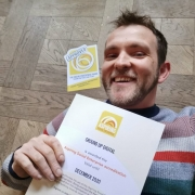 Rory Mason with the Aspiring Social Enterprise accreditation certificate