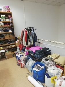 Clothes and fabric at Green Squirrel recycling social enterprise in Siberia