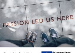 Two pairs of feet on a pavement with text 'passion led us here'