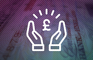 White graphic of two hands holding a £ sign, on top of a blurred image of a banknote