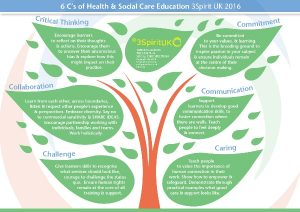 Diagram showing the 6 Cs of health and social care education: critical thinking, commitment, communication, caring, challenge, collaboration