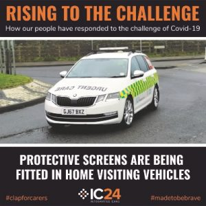 Photo of an urgent care responder vehicle with text: Rising to the Challenge: how our people have responded to the challenge of Covid-19