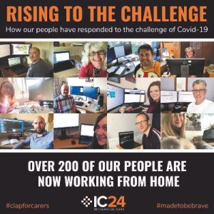 Photo montage of people working at laptops with text: Rising to the Challenge: how our people have responded to the challenge of Covid-19