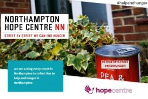 Northampton Hope Centre poster asking for donations of canned food