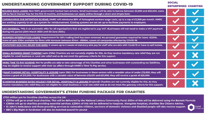 A diagram outlining government support for social enterprises and charities
