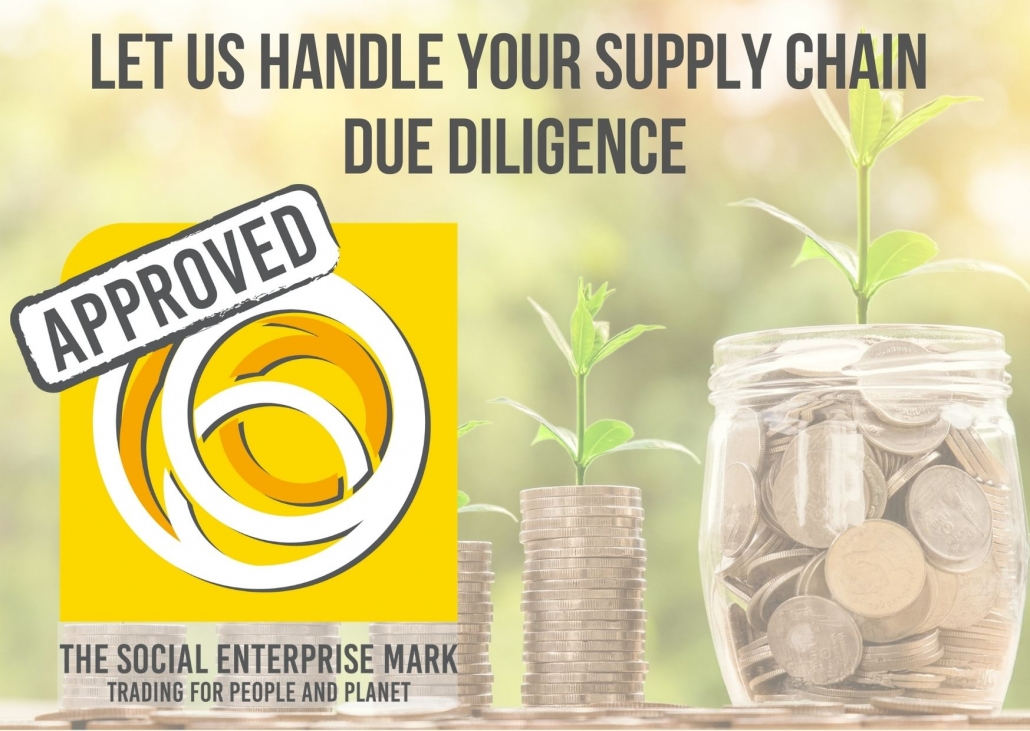 "Image of stacks of coins and a jar full of coins with text overlay: ""Let us handle your supply chain due diligence"""