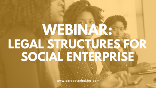 Image of a group of women talking with text overlay: 'Webinar: legal structures for social enterprise'