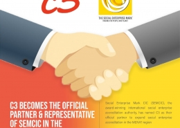 Graphic of two hands shaking, with text announcing a partnership between Social Enterprise Mark CIC and C3