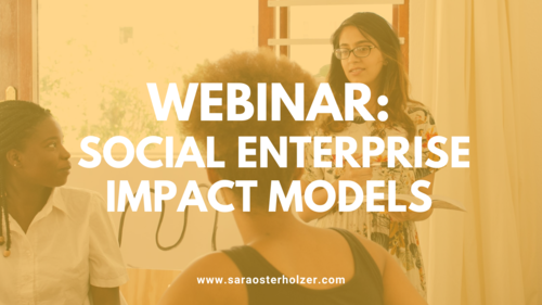 Image of a woman presenting to a group with text overlay: 'Webinar: social enterprise impact models''
