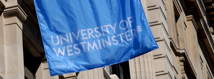 Photo of a blue flag on a building with text 'University of Westminster'