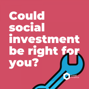 Graphic of a blue spanner on a pink background with the text 'could social investment be right for you?'