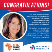 Photo of Louise van Rhyn announcing she has been named Influencer of Influencers™ by The Africa Brand Summit