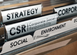A collection of files in a drawer with labels, including 'social', 'strategy', 'CSR'