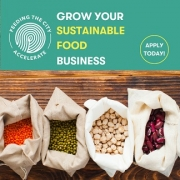 Picture of bags of produce with text: grow your sustainable food business