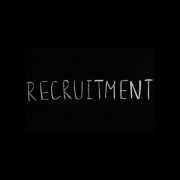 White text on a black background: recruitment