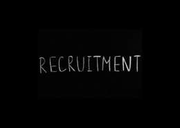 White text on a black background: recruitment