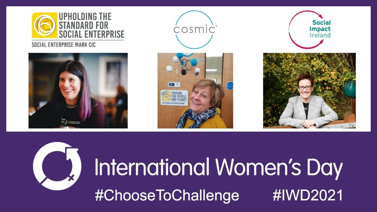 International Women's Day banner with photos of Lucy Findlay, Julie Hawker and Pauline Gannon