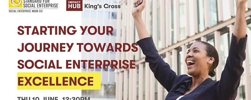 Starting your journey towards social enterprise excellence - photo of a woman in a black suit raising her hands in the air