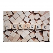 Wooden tiles spelling out 'support'
