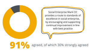 Graph visual showing 91% agree that Social Enterprise Mark CIC provides a route to standards of excellence in social enterprise, by encouraging and supporting continual improvement in line with best practice