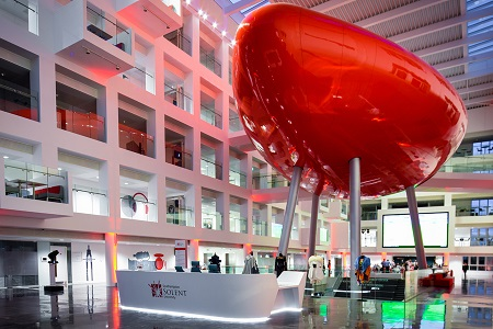 Solent Business School atrium/lobby with large red pod