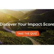 Image of a winding mountain road with text overlay: 'Discover your impact score. Take the quiz'
