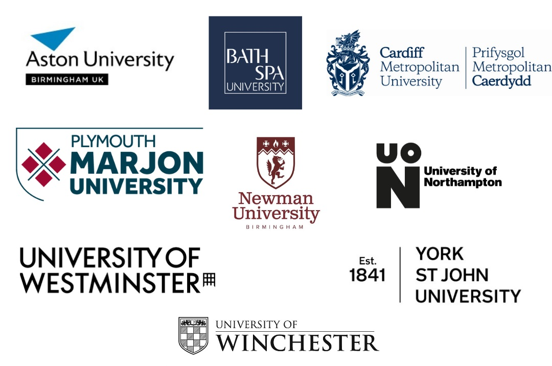 Logos of universities which hold social enterprise accreditation