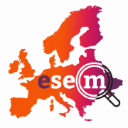 Map of Europe with text overlay 'esem' with a magnifying glass